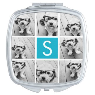 Aqua Blue Photo Collage Custom Monogram Compact Mirror