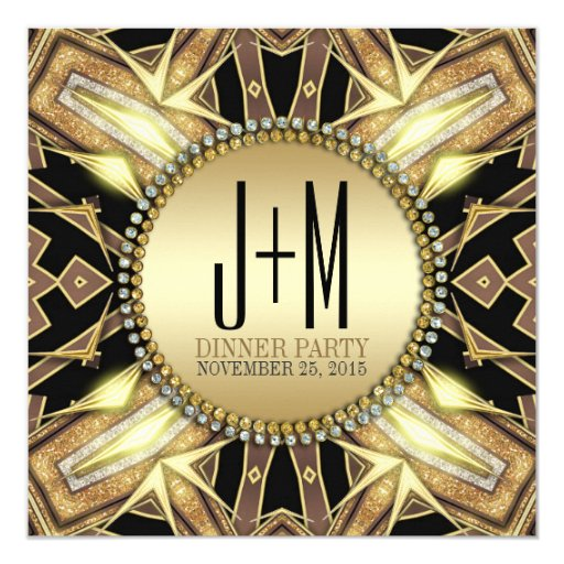 Art Deco Gold Glow Dinner Party Invitation