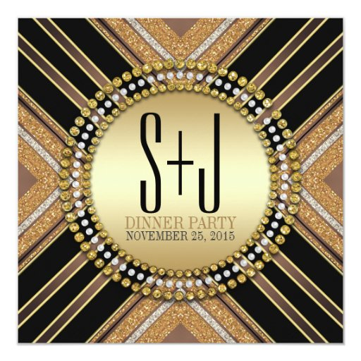 Art Deco Style Black Gold Dinner Party Invitation