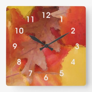 Autumn Leaves Watercolor Wall Clock
