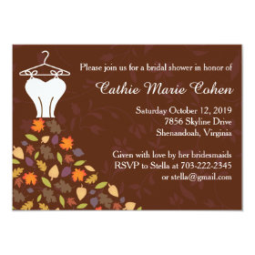 Autumn Leaves Wedding Dress Bridal Shower 4.5x6.25 Paper Invitation Card