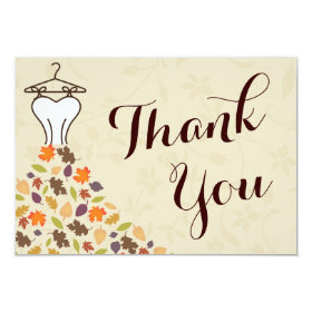 Autumn Leaves Wedding Dress Thank You 3.5x5 Paper Invitation Card