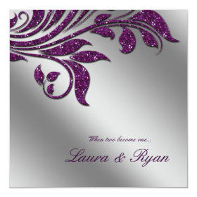 Autumn Wedding Invite Sparkle Leaf Purple Silver