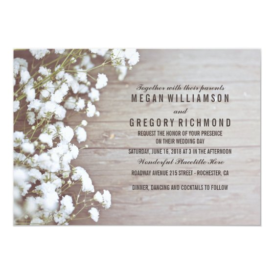 Baby's Breath Rustic Wedding Card
