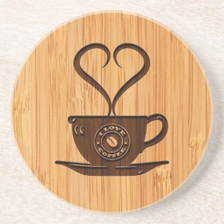 Bamboo Look & Engraved Cute I Love Coffee Drink Coaster