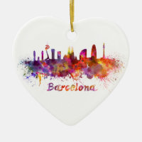 Barcelona skyline in watercolor Double-Sided heart ceramic christmas ornament