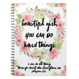 Beautiful Girl Philippians 4:13 Pink Rose Notebook
