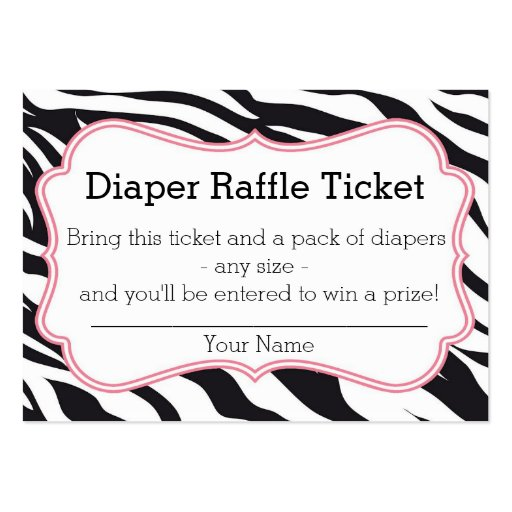 Black and Pink Zebra Diaper Raffle Ticket Large Business Card