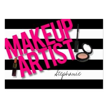 Black & Pink Makeup artist Large Business Cards (Pack Of 100)
