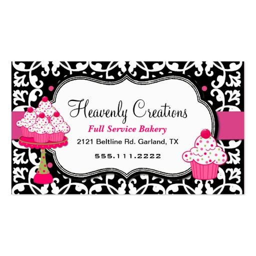 Black, White, and Pink Damask Bakery Business Card