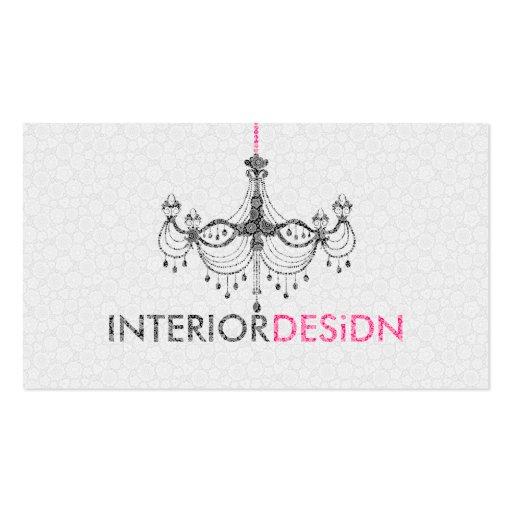 Black White& Pink Chandelier Interior Design Business Card