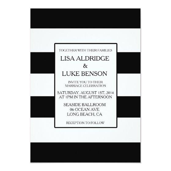 Black & White Stripe Wedding Invitation