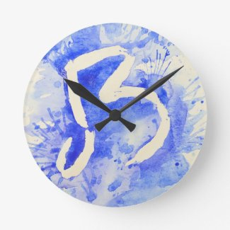 Blue Devils Watercolor Logo Round Wall Clocks