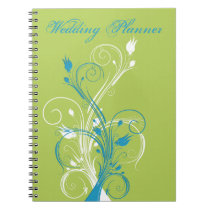 Blue Green White Floral Wedding Planner Notebook