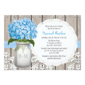 Blue Hydrangea Monogrammed Mason Jar Bridal Shower 5x7 Paper Invitation Card