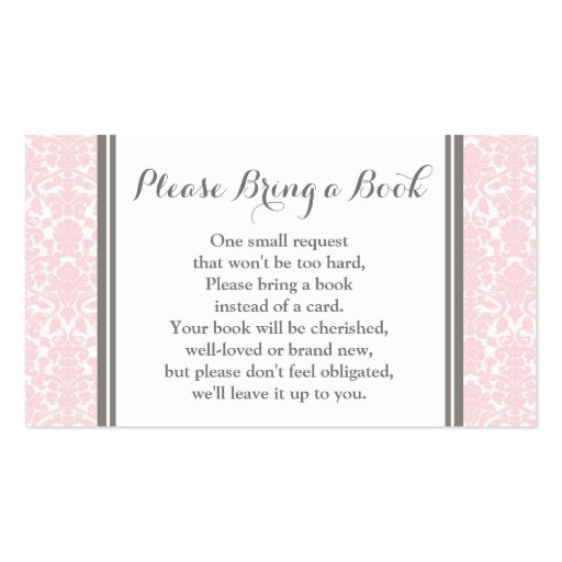 Blush Pink Damask Baby Shower Book Request Card Business Card