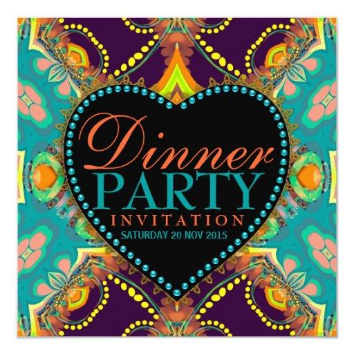 Bohemian Hippie Batik Dinner Party Invitations