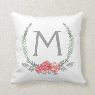 Botanical Laurel Wreath Monogram Pillow