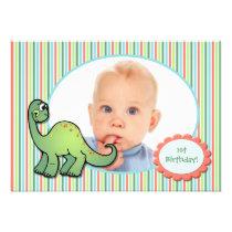 Boy's Dinosaur First Birthday Party Invitation