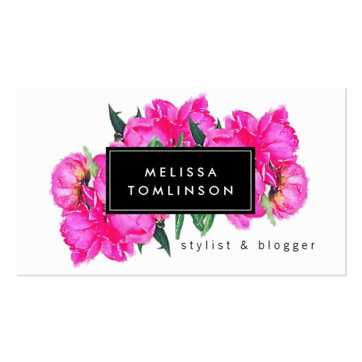 Bright Watercolor Pink Peonies II Stylist, Beauty Business Card