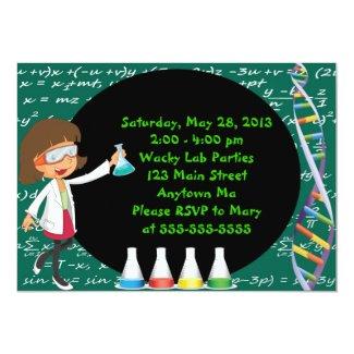 "Brunette Girl Mad Scientist Party Invitation 5"" X 7"" Invitation Card"