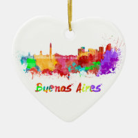 Buenos Aires skyline in watercolor Double-Sided Heart Ceramic Christmas Ornament