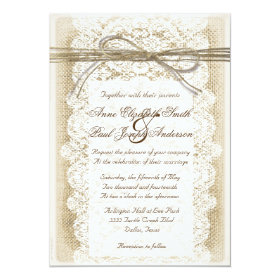 Burlap and Lace twine bow Wedding Invitation
