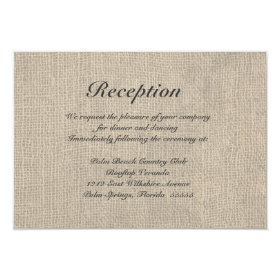 Burlap Rustic Wedding Reception Directions Card