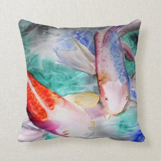 Butterfly Koi watercolour Japanese Fish painting Throw Pillows