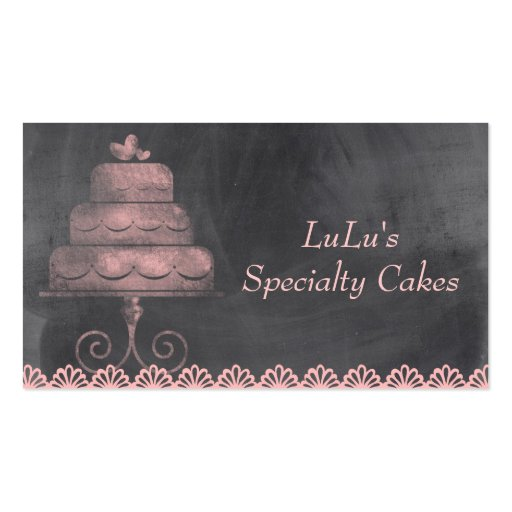 Chalkboard Bakery Business Card with Pink Cake