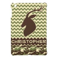 Chevron Pattern Buck Camouflage Monogram iPad Mini Cases