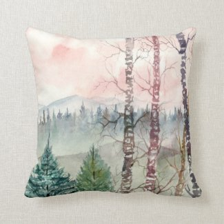 christmas landscape watercolor painting with snow pillows