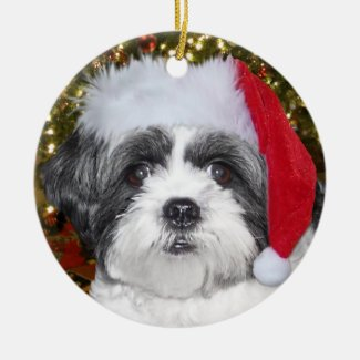 Christmas Shih Tzu Dog Ornament