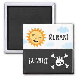 Clean dirty dishwasher magnet with sun and skull