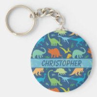 Colorful Dinosaur Pattern to Personalize Keychains