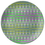 Colorful Pastel Zigzag Pattern Plate
