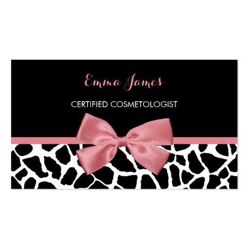 Cosmetologist Trendy Giraffe Print Rosy Pink Bow Business Card