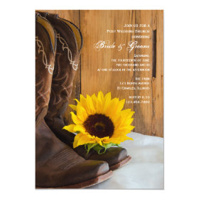 Country Sunflower Western Post Wedding Brunch 5x7 Paper Invitation Card