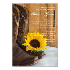 Country Sunflower Western Wedding 5x7 Paper Invitation Card