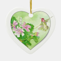 Custom Dated Hummingbird Watercolor Bird, Animal Double-Sided Heart Ceramic Christmas Ornament