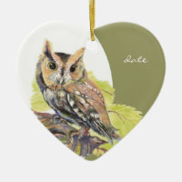 Custom Dated Screech Owl Watercolor Bird Double-Sided Heart Ceramic Christmas Ornament