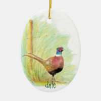Custom Dated Watercolor Pheasant, Bird Animal Double-Sided Oval Ceramic Christmas Ornament