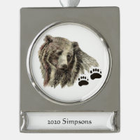 Custom Name Date Watercolor Grizzly Bear Animal Silver Plated Banner Ornament