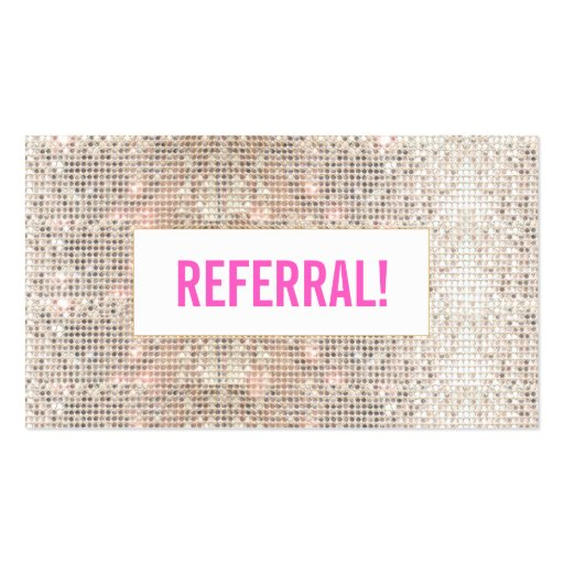 Cute Faux Silver Sequin Pink Cosmetology Referral Business Card