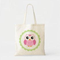 Cute pink owl cartoon inside green border tote bag