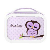 Cute Purple Owl and Polka Dots Personalized Lunch Boxes