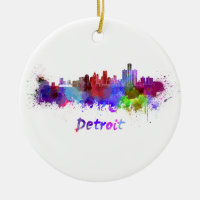 Detroit skyline in watercolor Double-Sided ceramic round christmas ornament