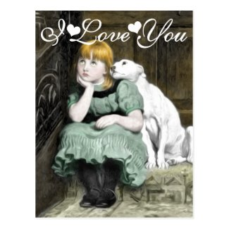 Dog Adoring Girl Victorian Painting I Love You Postcard