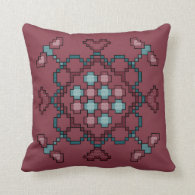 Dragonflies, Hearts and Circles Throw Pillow