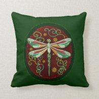 Dragonfly Elegant Jeweled 2 Folk Art Throw Pillows